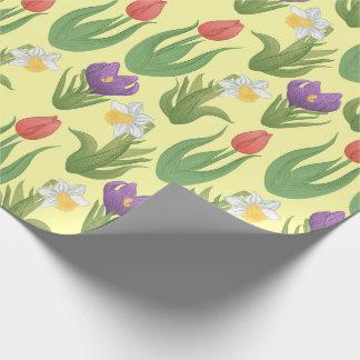 黄色の春の球根の花のイラストレーション ラッピングペーパー