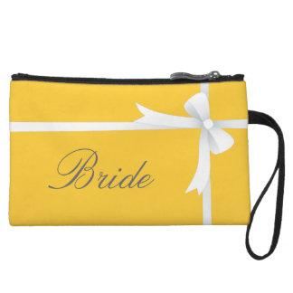 黄色の白い弓、花嫁 クラッチ