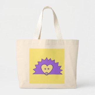 黄色の紫色のハリネズミ ラージトートバッグ