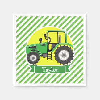 黄色の緑の農場トラクター;  緑及び白 スタンダードカクテルナプキン