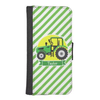 黄色の緑の農場トラクター;  緑及び白 iPhoneSE/5/5sウォレットケース