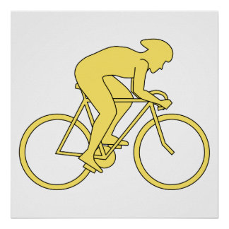 黄色の自転車のライダー ポスター