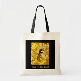 黄色の花のアースデーのバッグの《鳥》アメリカゴガラの鳥 トートバッグ