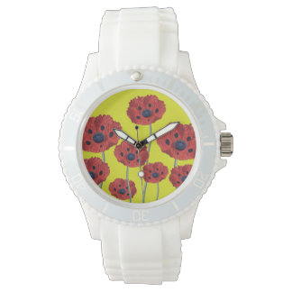 黄色の赤いケシ 腕時計