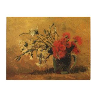 黄色の赤く白いカーネーションが付いているゴッホのつぼ ウッドウォールアート