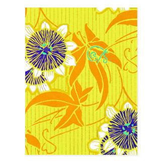 黄色の青い花 ポストカード