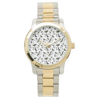 黄色の黒猫はハロウィンパターンを注目します 腕時計