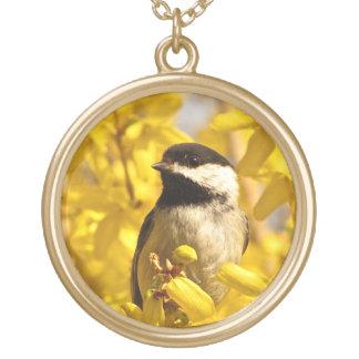 黄色の《鳥》アメリカゴガラの鳥によってはネックレスが開花します ゴールドプレートネックレス