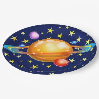 黄色は青空のカラフルな環状の惑星を主演します ペーパープレート
