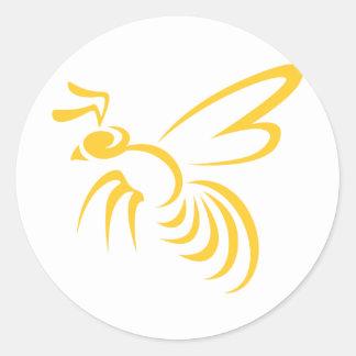 黄色スズメバチのロゴ ラウンドシール