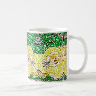 黄色バラおよびスズメバチ コーヒーマグカップ