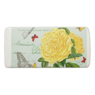 黄色バラが付いているフランスのな花のヴィンテージの消す物 消しゴム