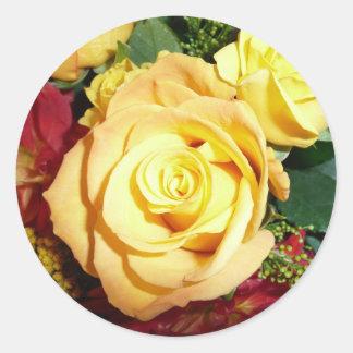 黄色バラのステッカー ラウンドシール