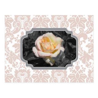 黄色バラのダマスク織Notecard ポストカード