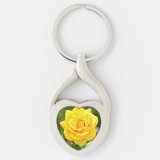 黄色バラのハートのキーホルダー キーホルダー