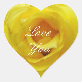 黄色バラのハートのステッカー愛して下さい ハートシール
