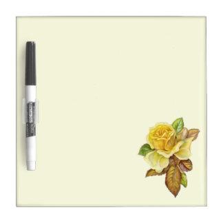 黄色バラのマーカー板 ホワイトボード