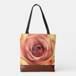 黄色バラのモノグラムのバッグ トートバッグ