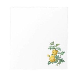 黄色バラのヴィンテージの植物のイラストレーション ノートパッド