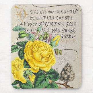 黄色バラの原稿 マウスパッド