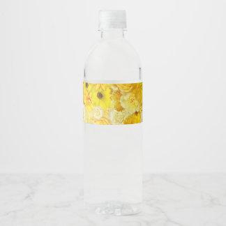 黄色バラの友情の花束のガーベラのデイジー ペットボトルラベル