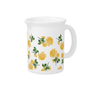 黄色バラの国のコテッジの花の水差し-白 ピッチャー