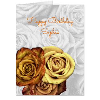 黄色バラの大きい誕生日の挨拶 カード