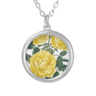 黄色バラの母の日カード シルバープレートネックレス