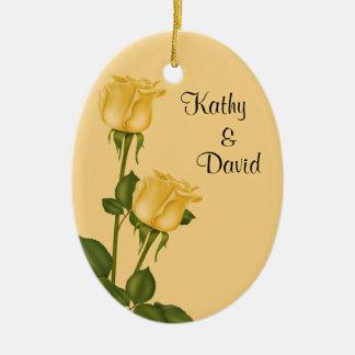 黄色バラの結婚 セラミックオーナメント