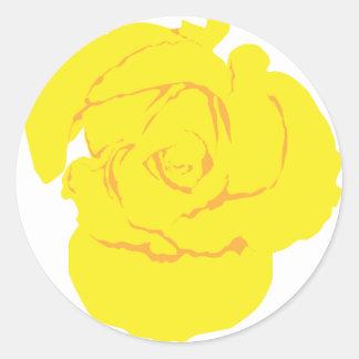 黄色バラの花 ラウンドシール