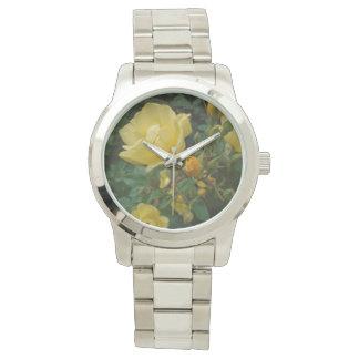 黄色バラのbohoの花の素朴な女性の腕時計 腕時計