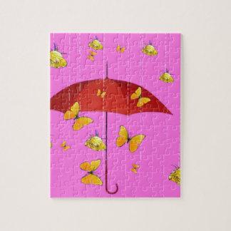 黄色バラ及び蝶ギフトを雨が降ること ジグソーパズル