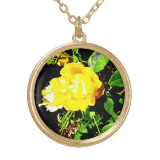 黄色バラ-ネックレス ゴールドプレートネックレス