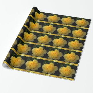 黄色バラ、金記念日 ラッピングペーパー