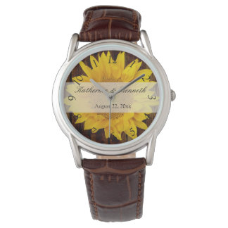 黄色ブラウンの夏の終わりのヒマワリの結婚式 腕時計