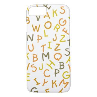 黄色及びオレンジアルファベットパターン iPhone 8/7ケース