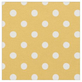 黄色及び白|の生地に点を打ちます ファブリック