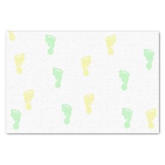 黄色及び緑のベビーの足跡10lbのティッシュペーパー 薄葉紙