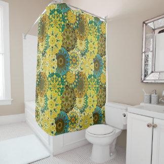 黄色及び青の曼荼羅のデザイン のインドのモチーフ シャワーカーテン