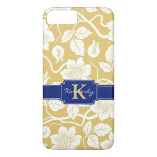 黄色及び青の花の名前/イニシャル iPhone 8 PLUS/7 PLUSケース