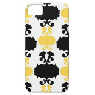黄色及び黒いダマスク織の花のガーリーな花模様 iPhone SE/5/5s ケース