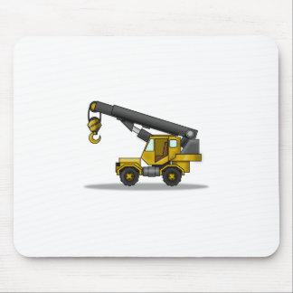黄色及び黒い漫画クレーン建築車 マウスパッド