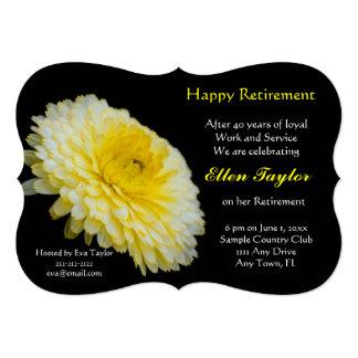 黄色及び黒い花の退職のパーティの招待状 12.7 X 17.8 インビテーションカード