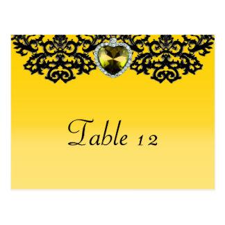 黄色及び黒く華美なハートの吊り下げ式の結婚式 ポストカード