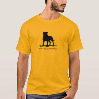 黄色旗の(犬)スタッフォード-ロゴのティー- Tシャツ