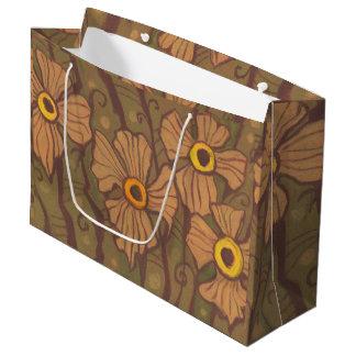 黄色目の花、花の芸術、オリーブ色の茶色 ラージペーパーバッグ