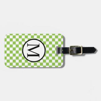 黄色緑のチェッカーボードが付いているシンプルなモノグラム バッグタグ