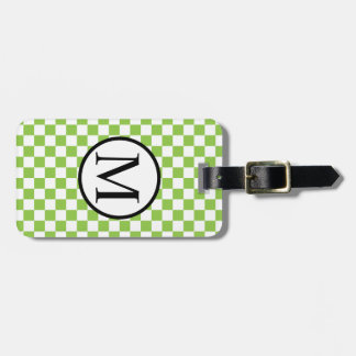 黄色緑のチェッカーボードが付いているシンプルなモノグラム ラゲッジタグ