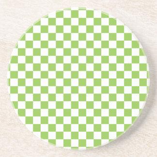 黄色緑のチェッカーボードパターン コースター