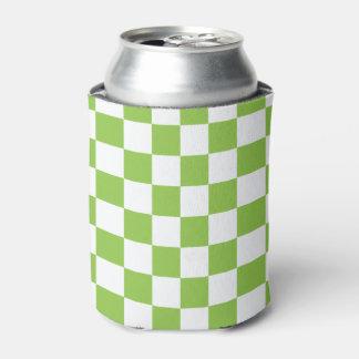 黄色緑のチェッカーボードパターン 缶クーラー